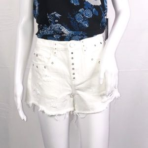 Blank NYC White High Rise Rip Grommets Shorts Sz27